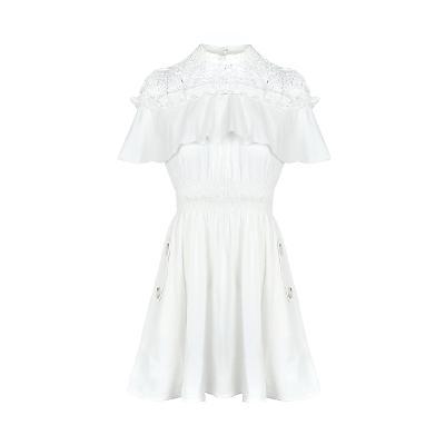 lace point smoke banding dress white